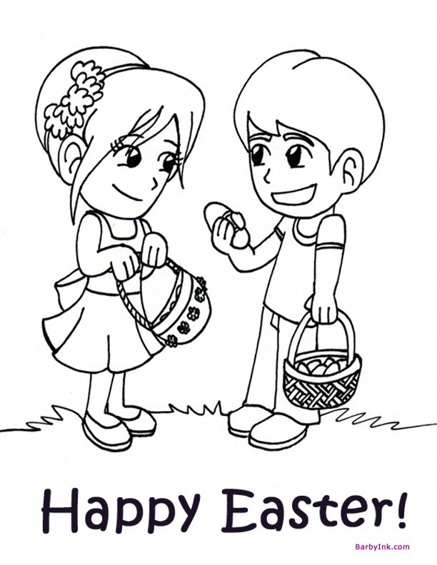 Print Free Easter Coloring Pages Like These CUTE KIDS ON AN EASTER EGG HUNT