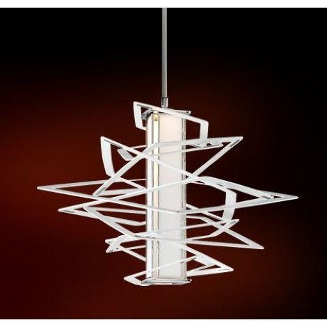 Luminaire suspendu blanc au style unique avec accents de chrome au