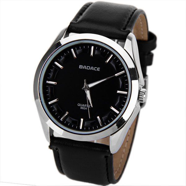 No.9924 Badace Brand Men Watch Time Showed by 12 Strips with Round Dial Leather Watchband. Less than $10.00