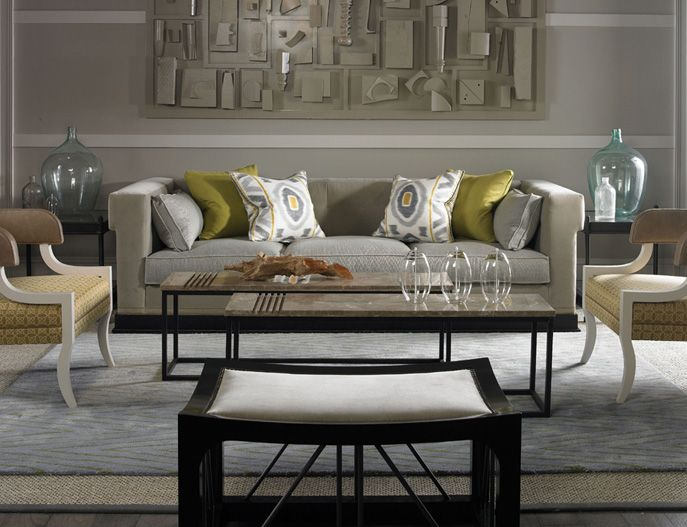 Contemporary Living Room Gray And Yellow Modern Custom Furniture