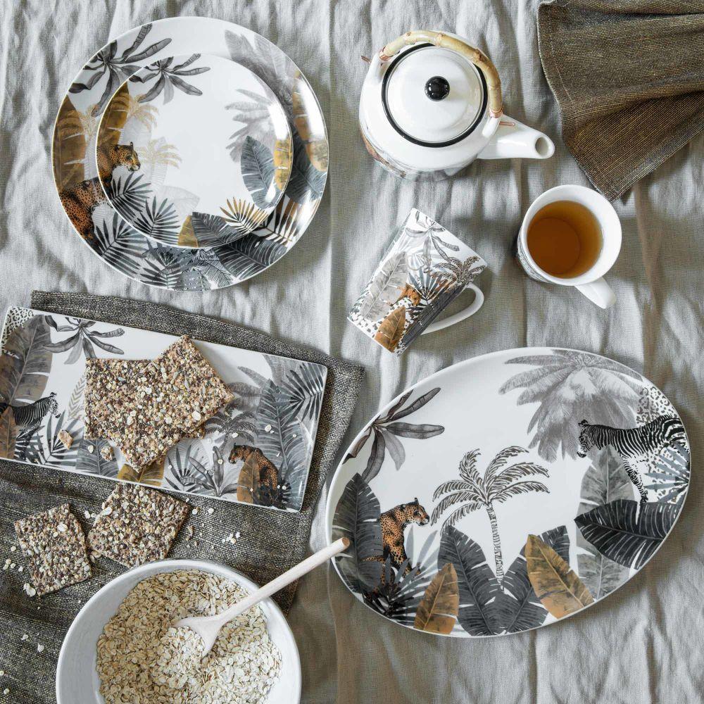 Assiette Plate En Porcelaine Imprime Panthere Maison Du Monde Assiettes Plates Maison De Noel