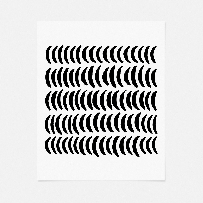 An Orderly Array Of Wavering Crescent Shapes Brings A Subtle Texture To This Minimalist Art Print The Nuanced Boldnes Art Art Prints Scandinavian Art
