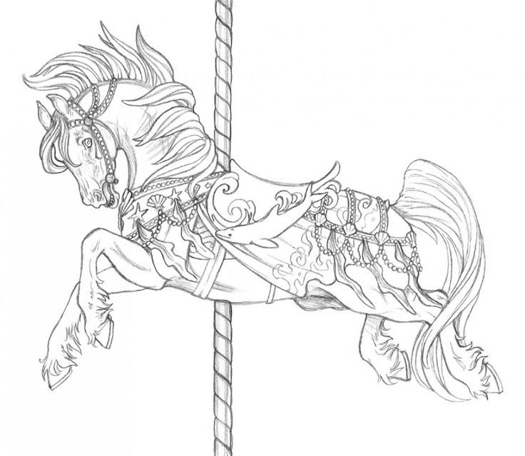 Carousel Horse Tattoo Page Coloring Pages Embroidery