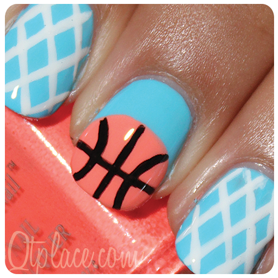 Basketball nail art | Qtplace... might do this but with a volleyball. - Basketball Nail Art Qtplace... Might Do This But With A