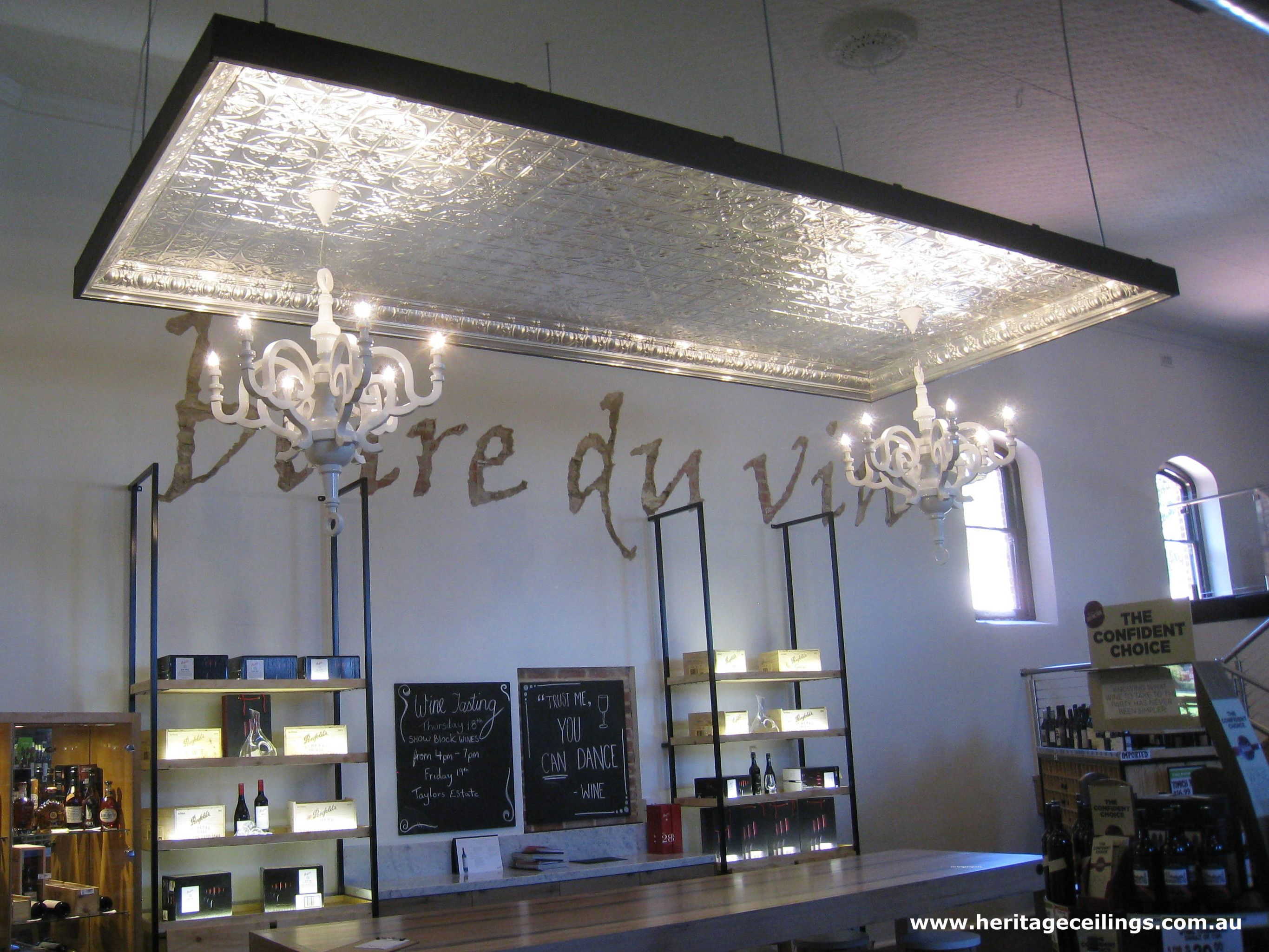 This Is The Suspended Ceiling At The Pickled Duck In Adelaide The Large Maple Design Was Used Beautiful L Pressed Metal Ceiling Pressed Tin Ceiling Ceiling
