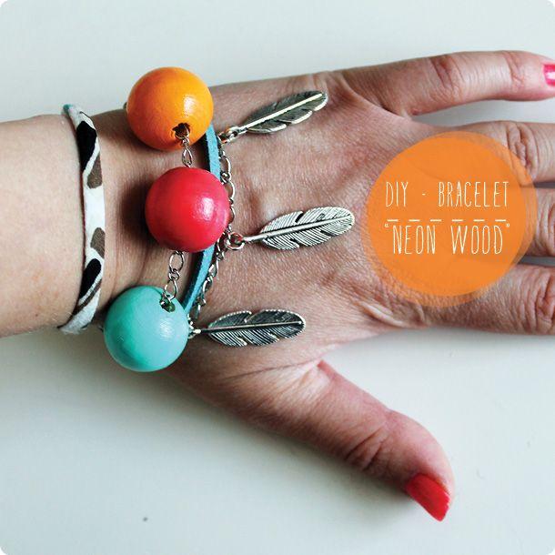 diy bracelet d 39 t vernis neon wood n on vernis et bracelets. Black Bedroom Furniture Sets. Home Design Ideas