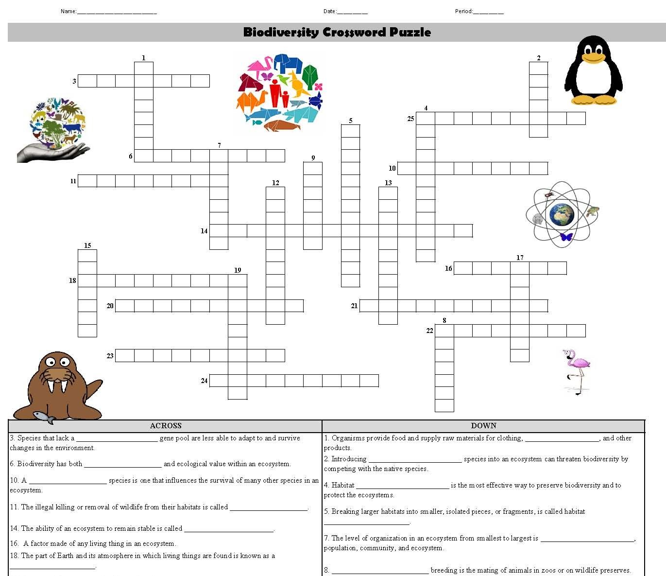 Biodiversity Crossword Puzzle