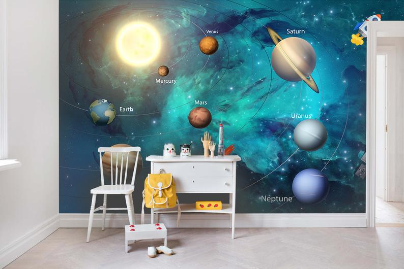 3d Kids Dream Universe Planet Wallpaper Nursery Wallpaper