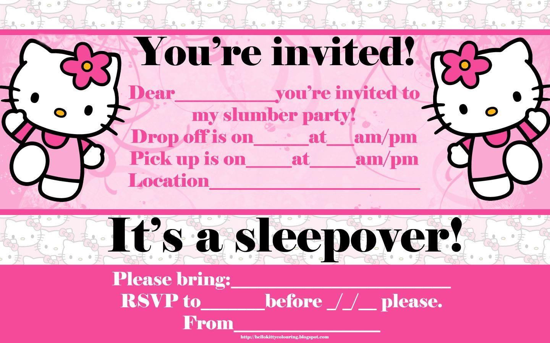 Printable Hello Kitty Birthday Invitation Cards Aubreys 7th