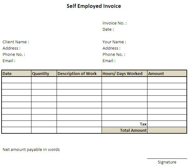 Self Employed Invoice Template Uk   Invoice