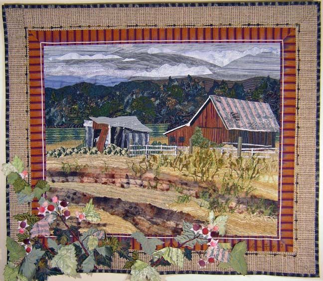 Art quilt; Red Barn with Salmonberries by Laura Fogg