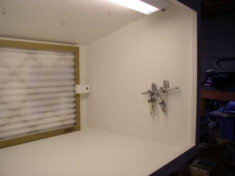 Inside Red Mobile Shelf In Studio Home Made Airbrush Spray Booth Slotforum Airbrush Spray Booth Spray Booth Diy Spray Booth