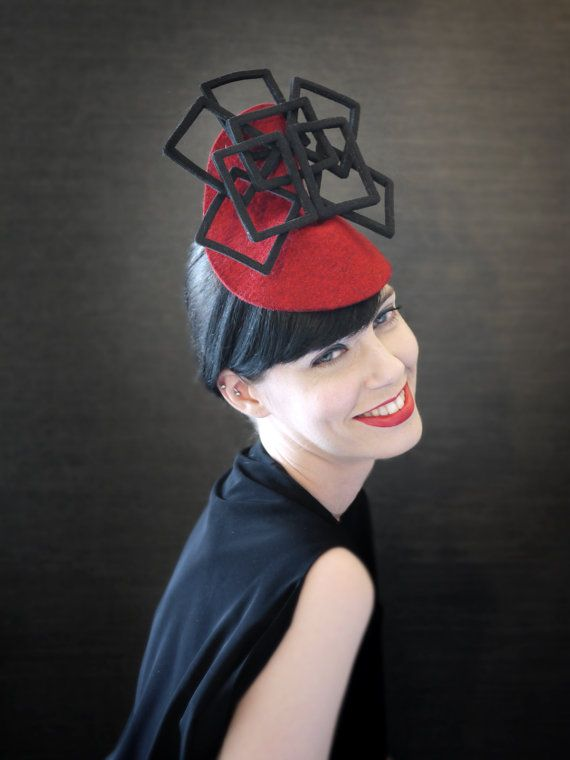Red Felt Fascinator with Black Geometric Fan Accent - Fractal Series - Made  to Order 9dbfb1a9c97