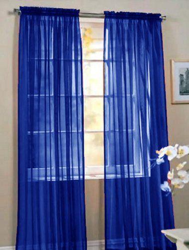2 Piece Beautiful Sheer Window Royal Blue Elegance Curtains Drape