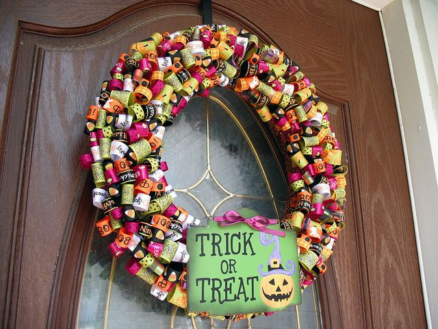 its a wreath isnt it so much fun when i saw caras ribbon wreath i knew i had to make one halloween ribbon was on sale at michaels last week - Halloween Candy Wreath