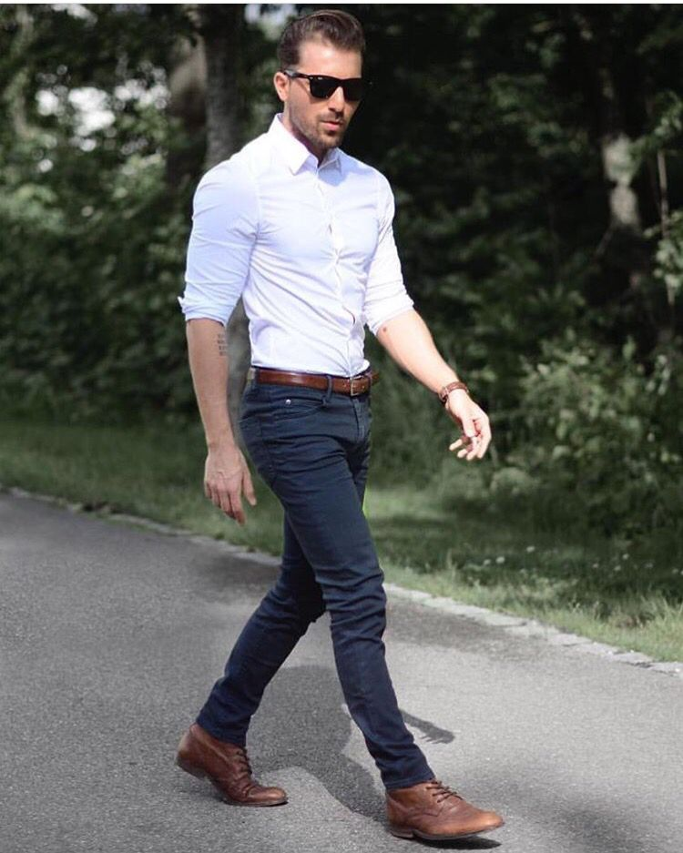 Die brown boots black jean white simple shirt my for White shirt outfit mens