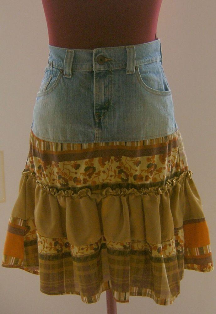 48d21d261a Levi's Jeans Denim Skirt Size 11 Junior Tiered Floral Boho Peasant Western  Wear #Levis #PeasantBoho