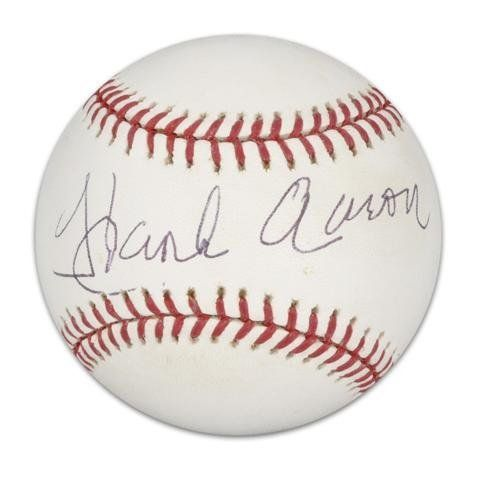 Hank Aaron Autographed Baseball Mounted Memories Certified Autographed Baseballs By Sports Memorabilia 250 5 Autographed Baseballs Hank Aaron Ernie Banks