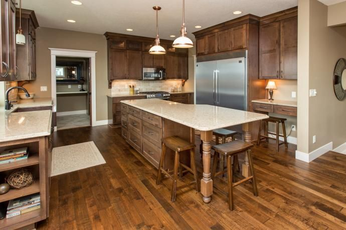 maple flooring, ppg stony creek paint color, knotty alder cabinets