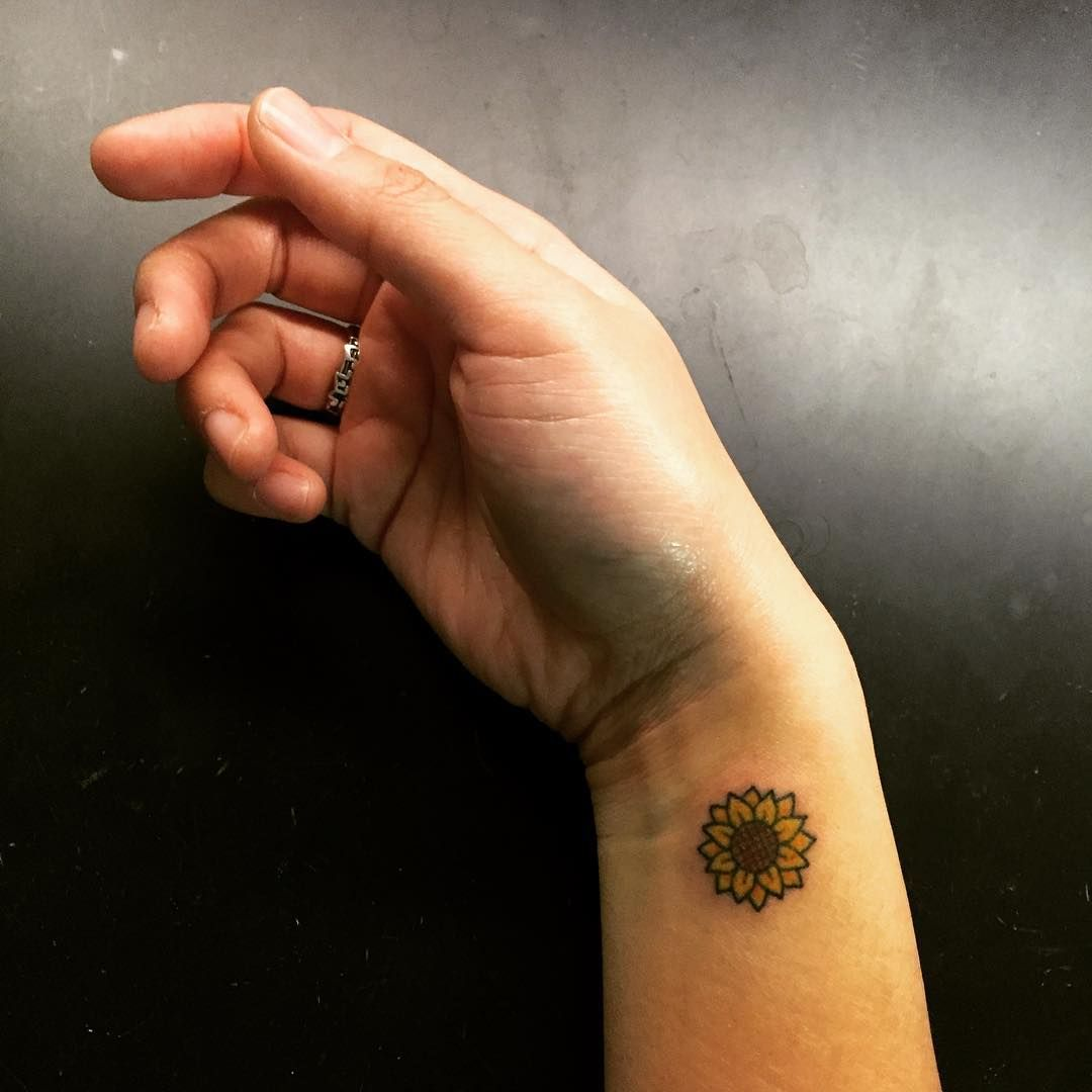 Simple tattoo ideas on wrist sunflower tattoo by minjoo  tattoo ideas  pinterest  sunflowers