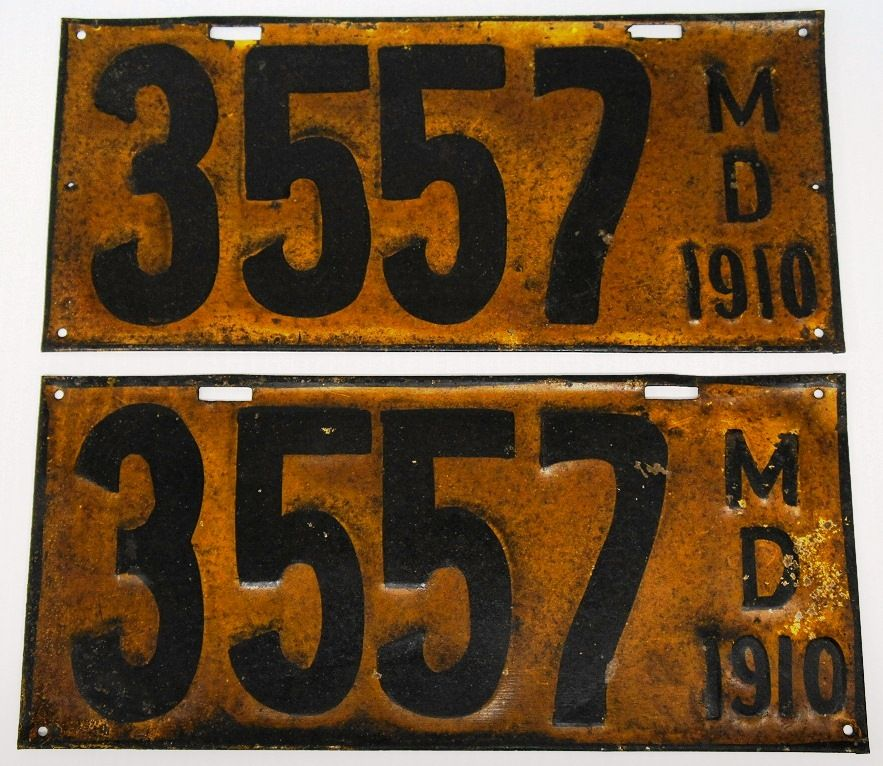 1910 Maryland License Plates. Very first MD state issued license ...