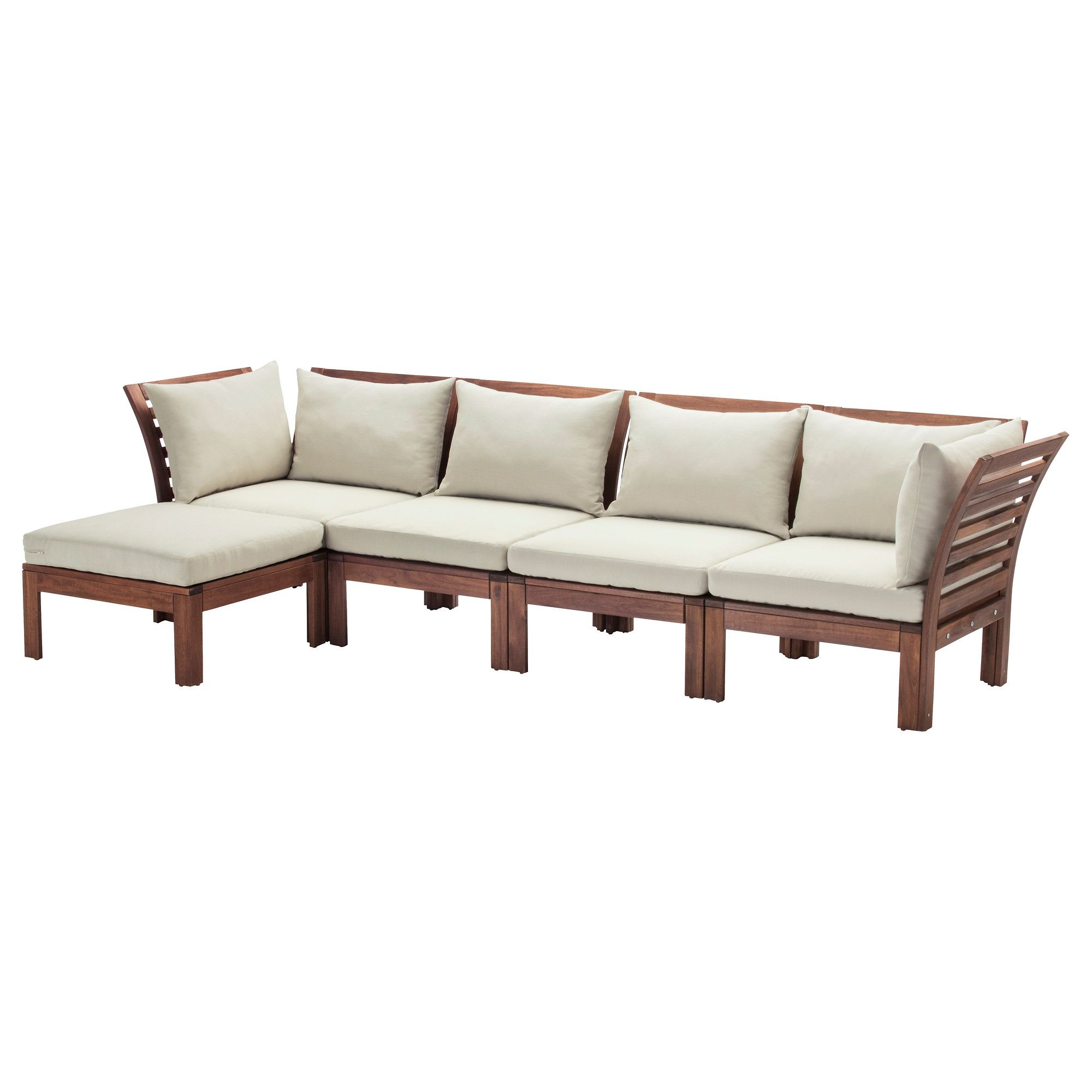 Gartensofa Ikea ÄpplarÖ 4 Seat Modular Sofa Outdoor With Footstool Brown Stained