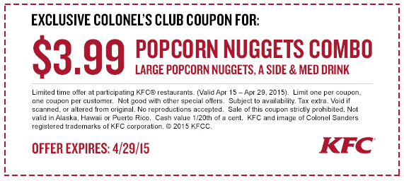 KFC Deal! Kfc coupons, Kfc, Popcorn chicken