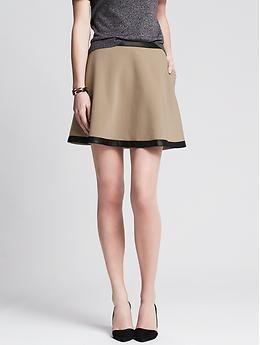 08f25d379f Banana Republic Faux-Leather Trim Full Skirt in coconut husk ...
