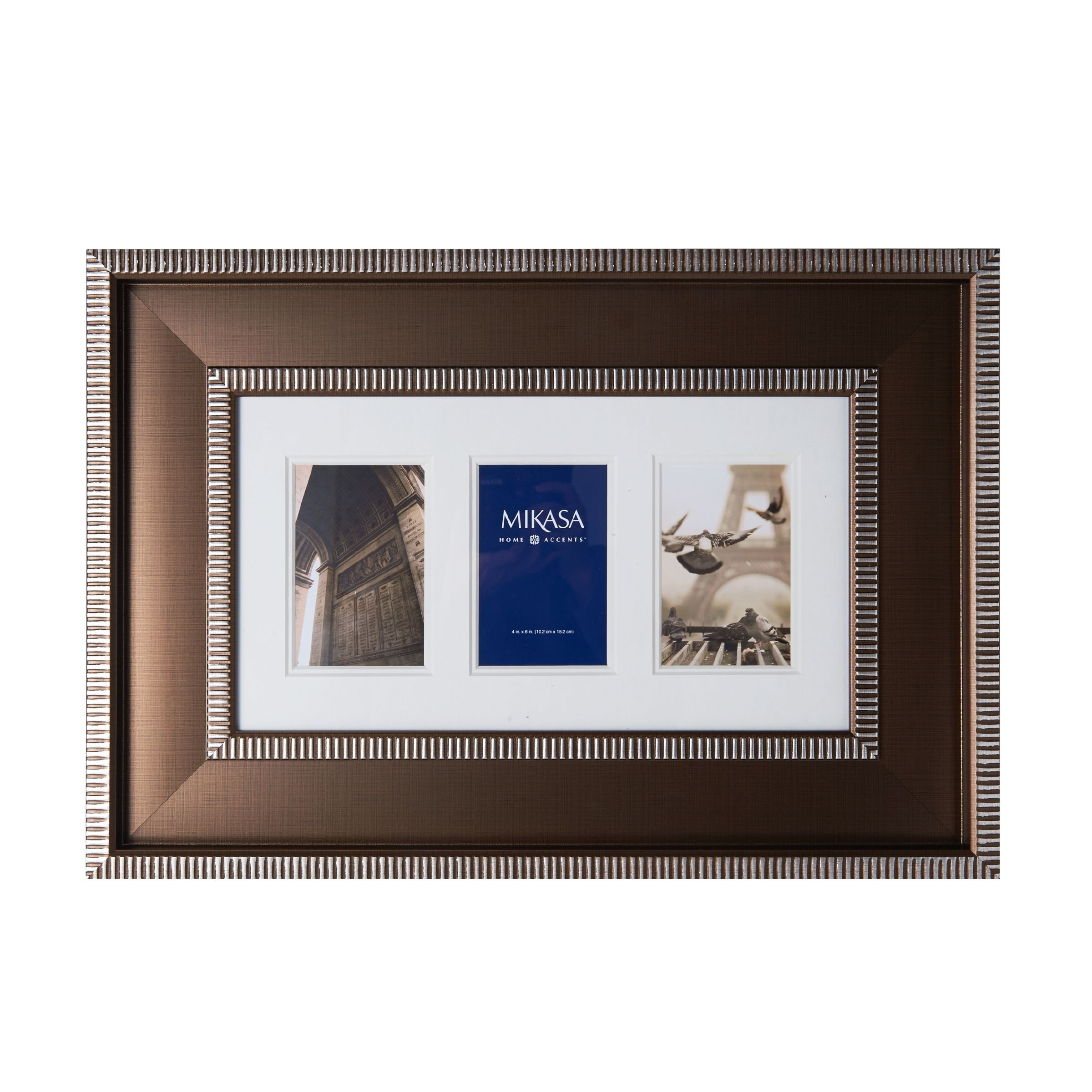 Mikasa 4 x 6 Striped Collage Frame, 3 Opening, Brown, Size 4x6 ...