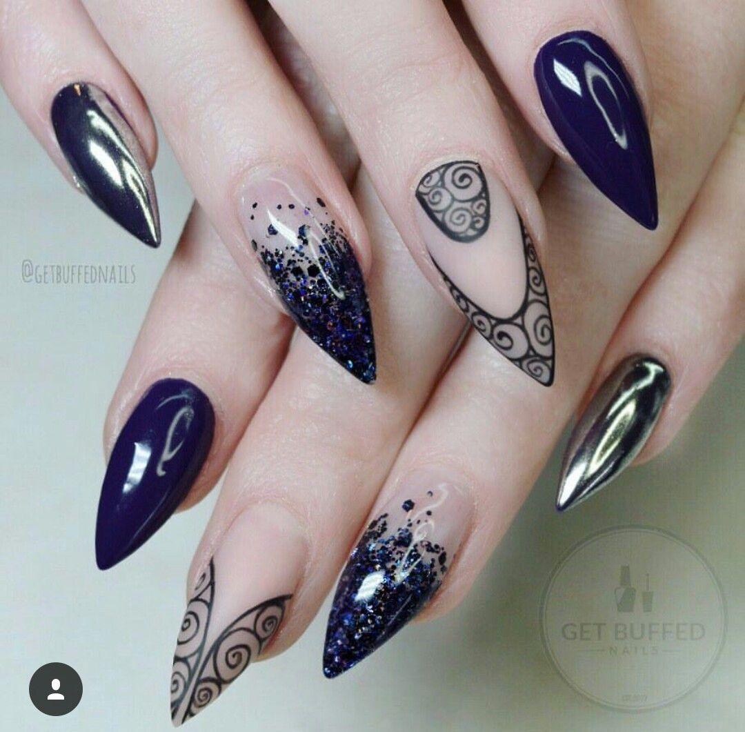Negro azul brillantina mano alzada francés mate encapsulado mezcla ...