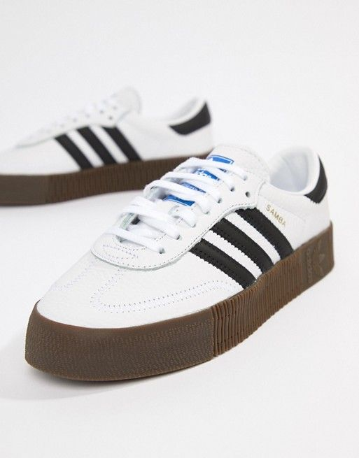 adidas Originals Samba Rose Sneakers In White With Dark Gum Sole ... e8cbda4c34