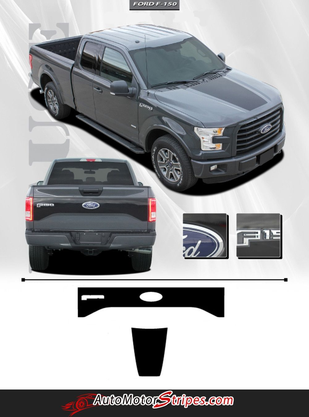 2015 2017 Ford F 150 Route Hood And Tailgate Blackout Vinyl Decal 3m Graphic Stripes Ford F150 Truck Tailgate Ford