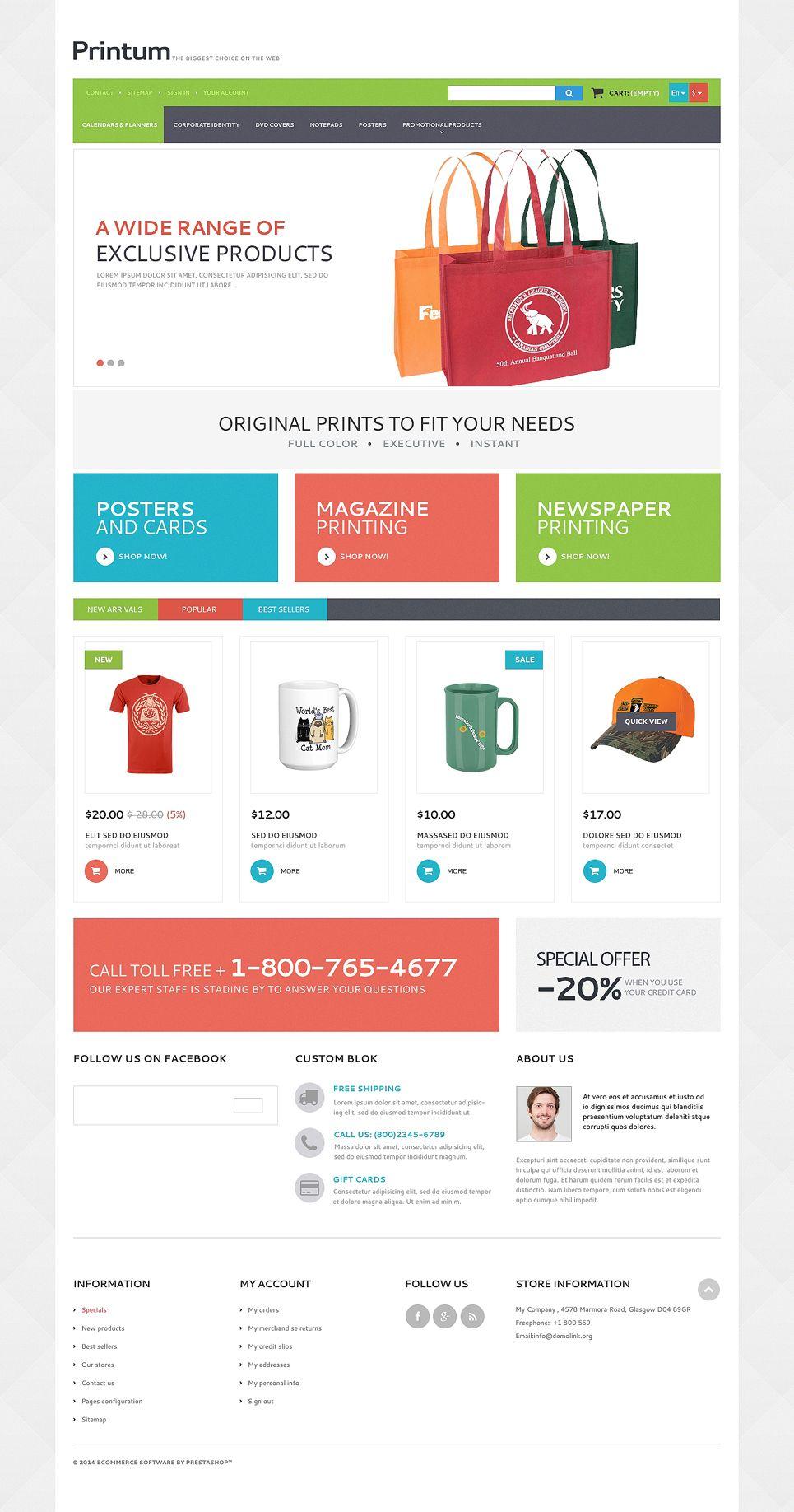 Harmonious Print Store Prestashop Theme 50887 Prestashop Themes Free Brochure Template Free Website Templates