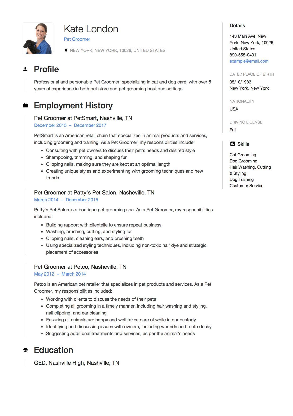 Pet Groomer Resume Writing Guide 12 Samples Microsoft