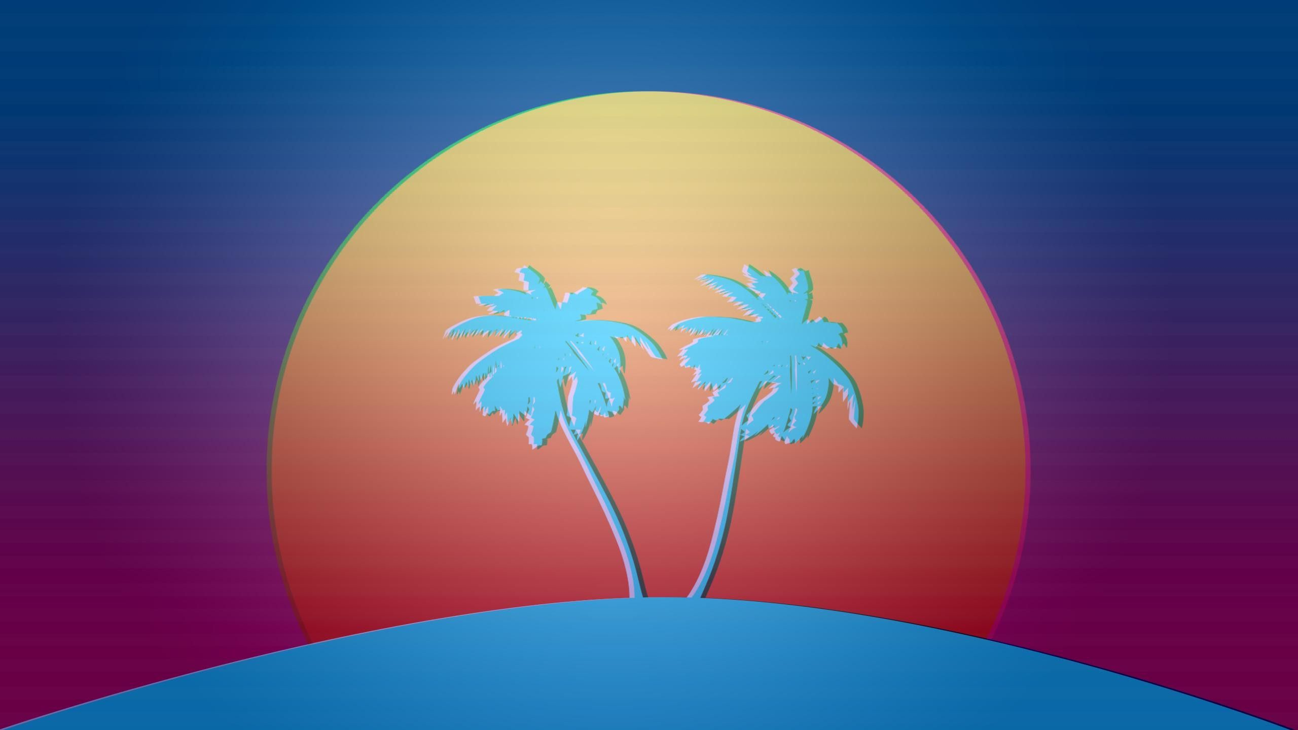 2560x1440 Vaporwave palm trees sunset Vaporwave, Pixel