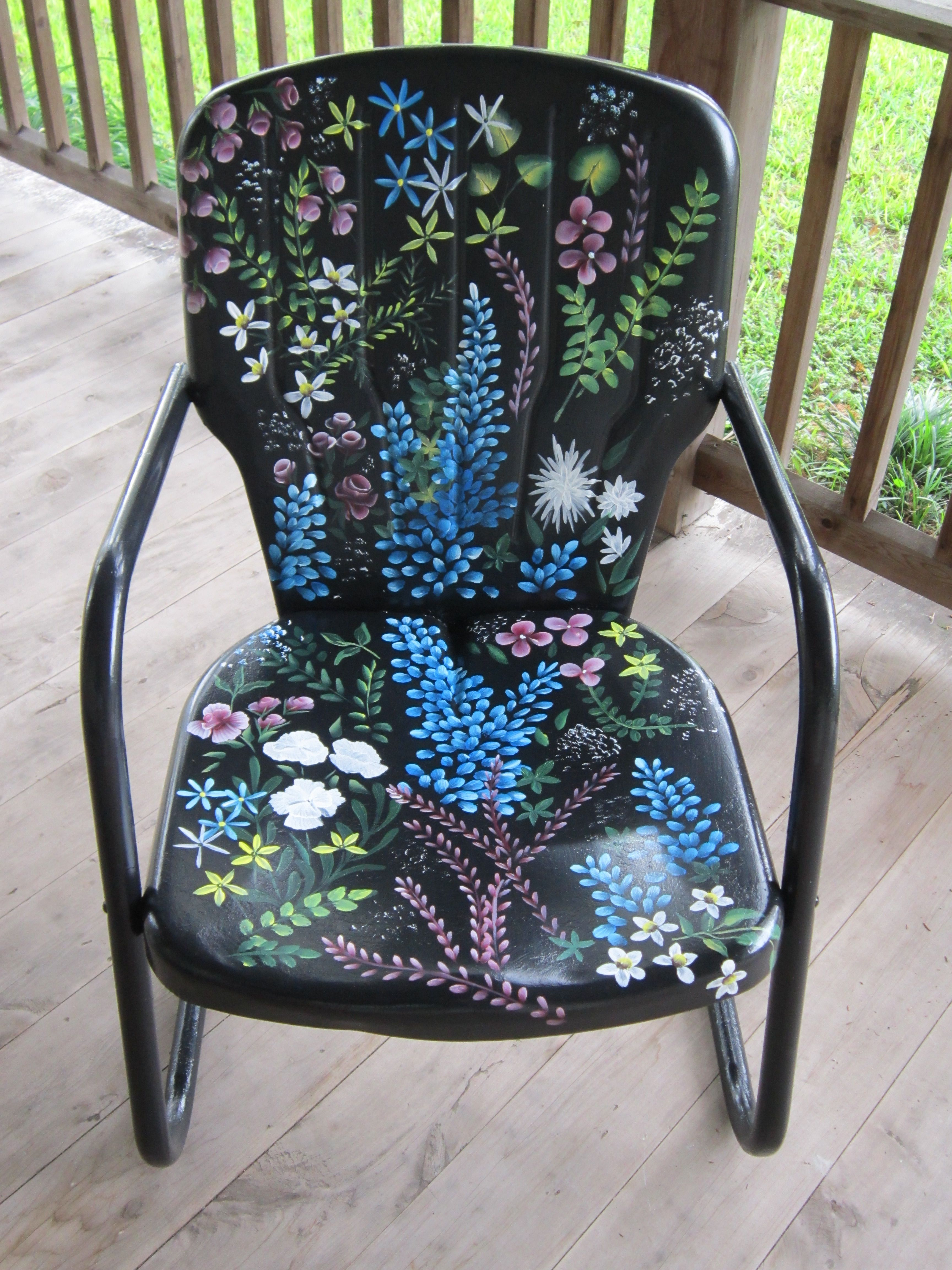 Love The Cool Paint Job On This Metal Lawn Chair! Visit The Artist: Http