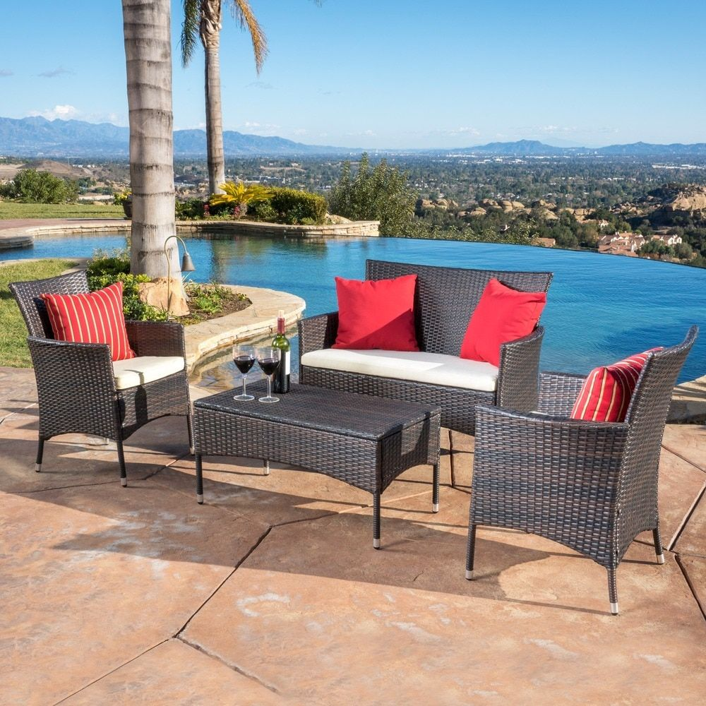 Home garden furniture  Malta Outdoor piece Wicker Chat Set with Cushions by Christopher