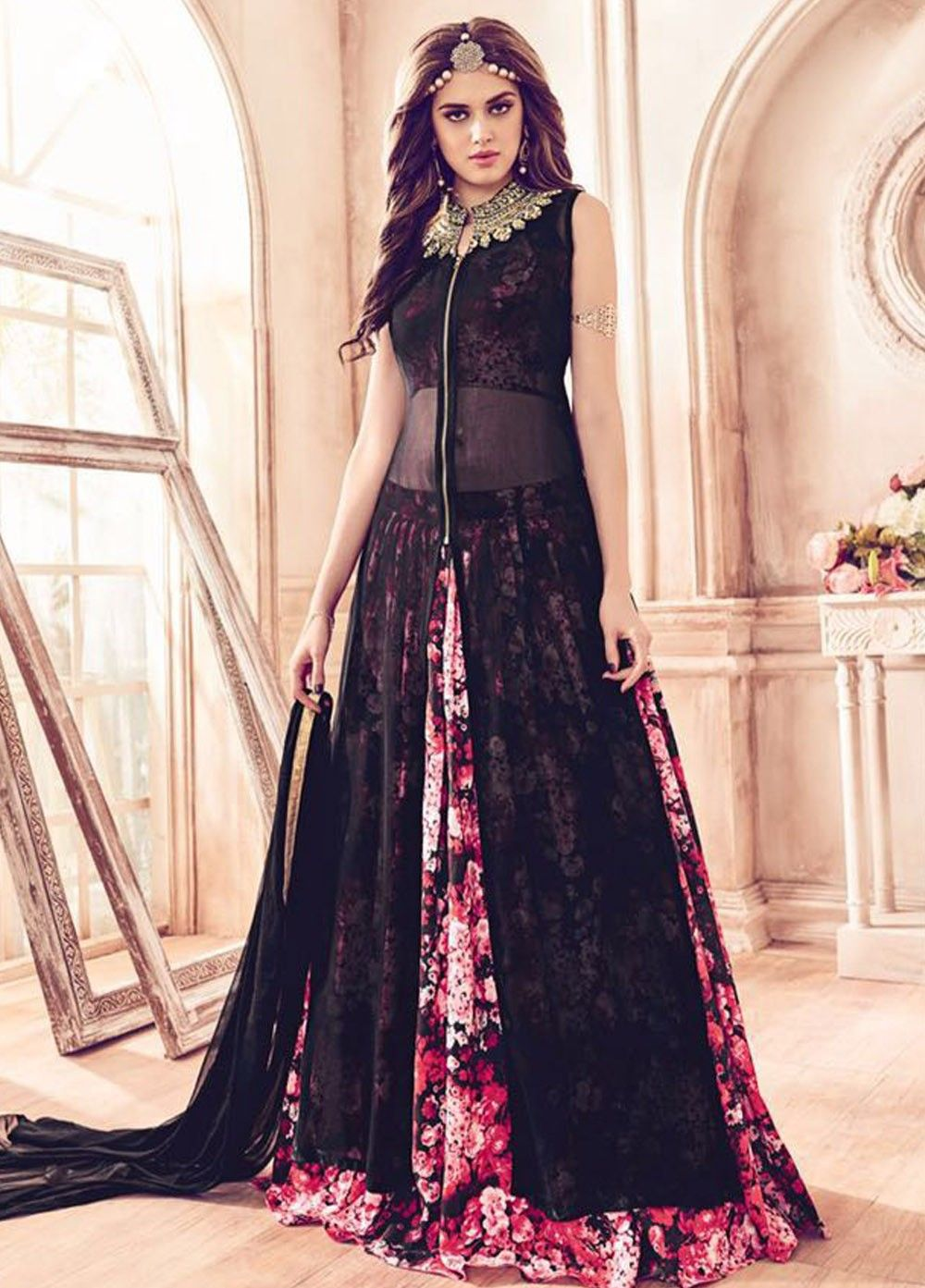 Dresses sarees suits lengha anarkali lehenga pink anarkali lehenga - Faux Georgette Black And Pink Lace Classic Lehenga Kameeze Salwar Suits Salwar Kameez Anarkali
