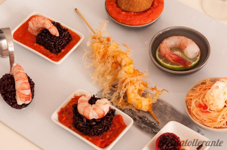 Degustazione di gamberi rossi e scampi