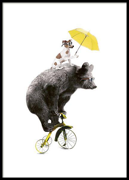 leuke poster met een beer op een gele fiets en een hond