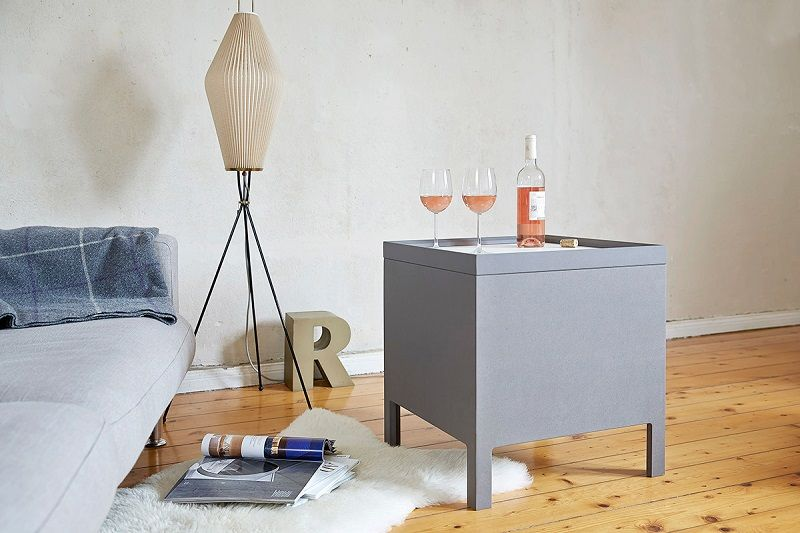 Side Table's Sliding Tiles Make for Perfect Hideaway Storage Spot (9 pictures)