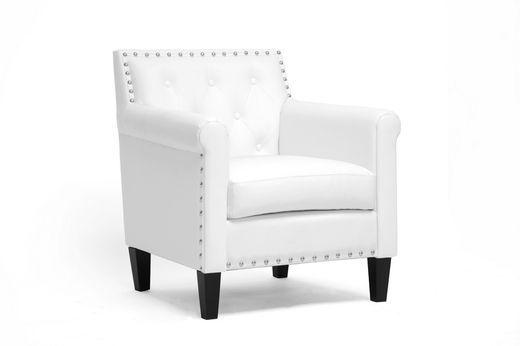 Wholesale Interiors Baxton Studio Thalassa White Modern Arm Chair