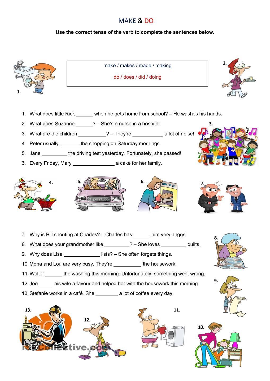 Make Vs Do How To Make Verb Tenses Worksheets