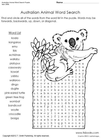 Australian Animal Word Search Puzzle Australian Animals Australia Crafts Animal Activities