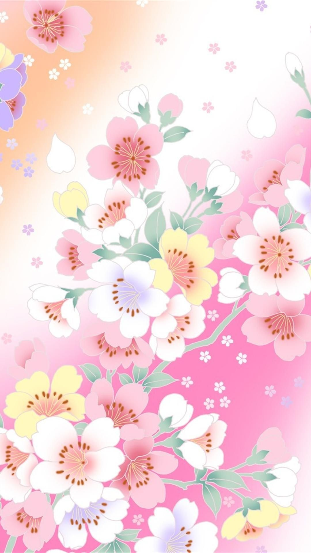 Wallpaper Woman Pink Flowers Innocent Cellular Background IPhone