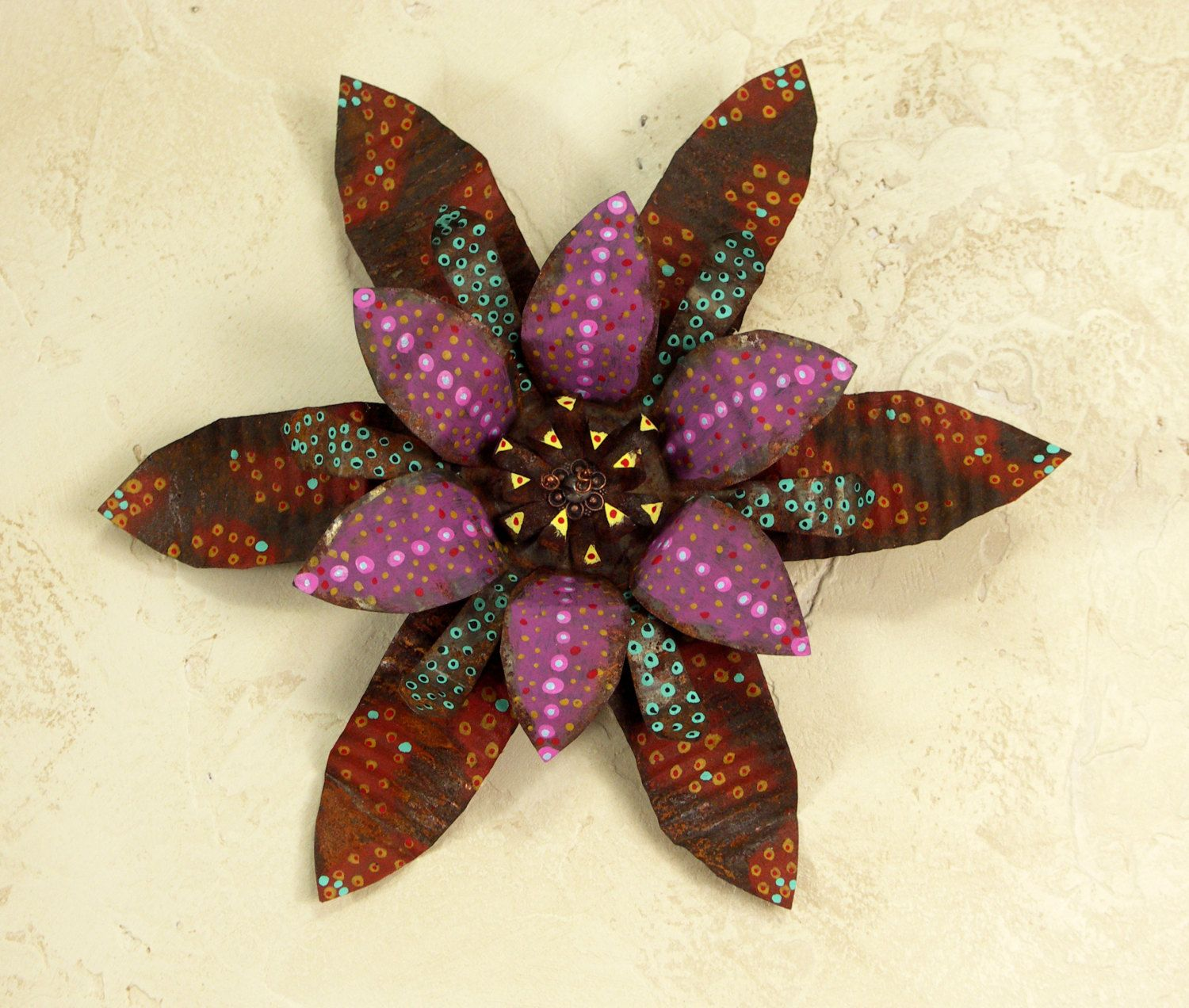 Metal Flower Wall Hanging Wall Hanging Hand Painted Rusted Flower Recycled Art Metal