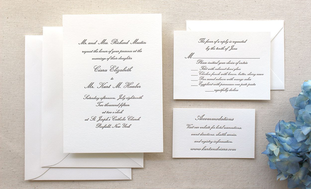 The Conservatory Suite Formal Letterpress Wedding