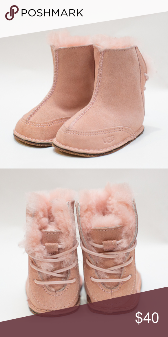622317abf0a UGG Australia Boo Baby Pink Infants Booties Soft Pink suede boot ...