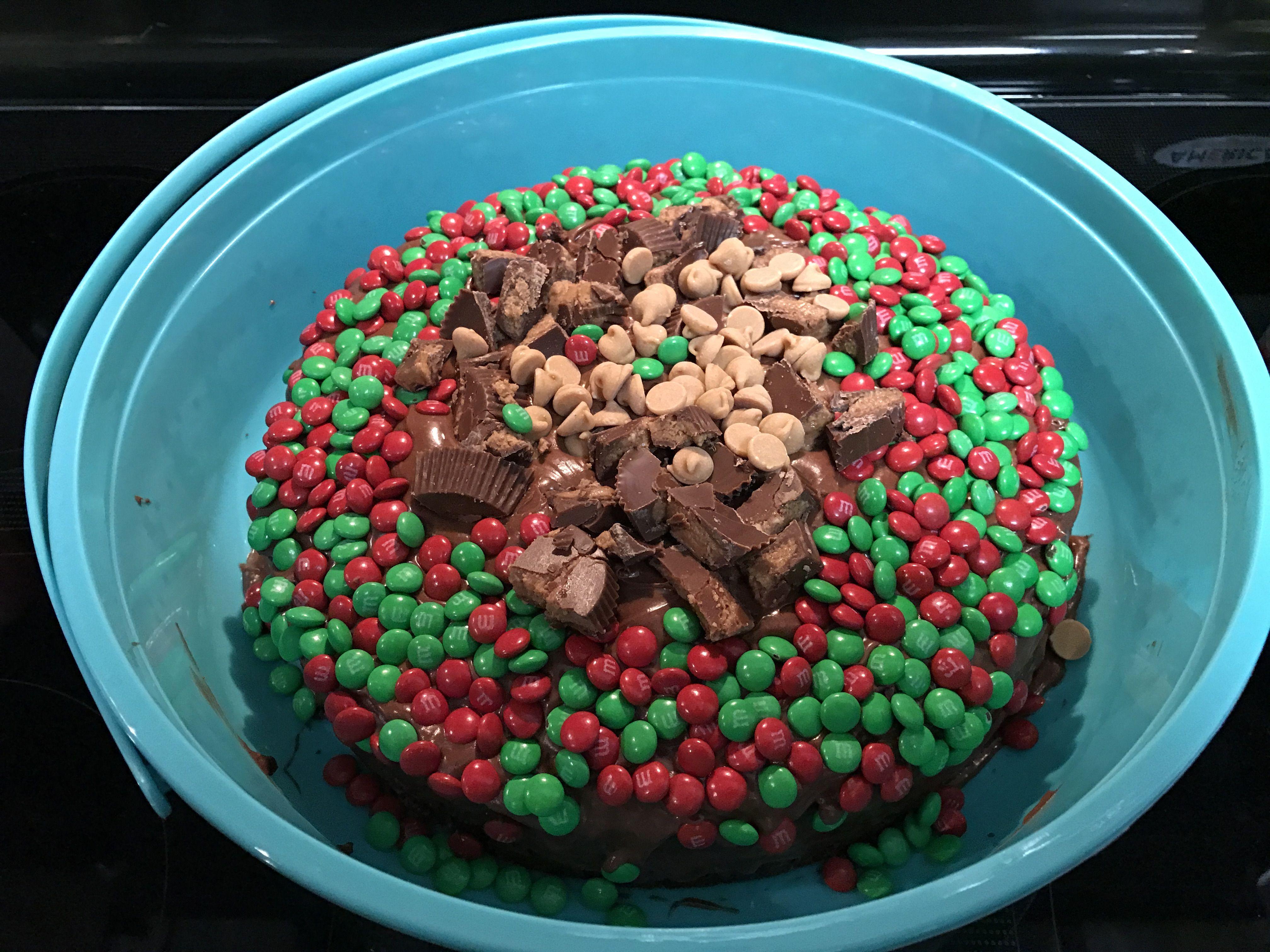 Chocolate, m&m's, & Reese's cake.