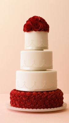 winter white and red rose wedding cake